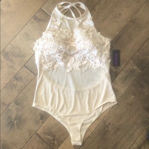 NWT Awesome Hot Miami Styles Nude Bodysuit Large